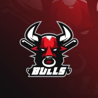 Vettore di progettazione di logo della mascotte del toro con l'illustrazione moderna