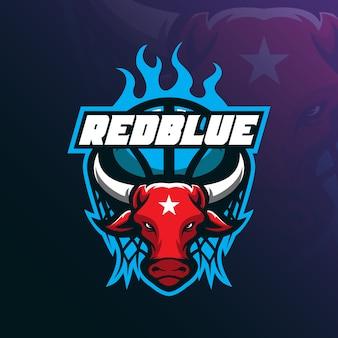 Vettore di progettazione di logo della mascotte del toro con stile moderno di concetto dell'illustrazione per stampa del distintivo, dell'emblema e della maglietta.