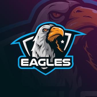 Vettore di progettazione di logo della mascotte dell'aquila con stile moderno di concetto dell'illustrazione per stampa del distintivo, dell'emblema e della maglietta.
