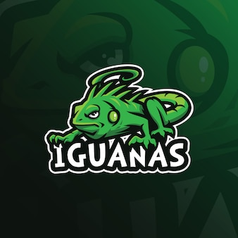 Vettore di progettazione di logo della mascotte dell'iguana con l'illustrazione moderna