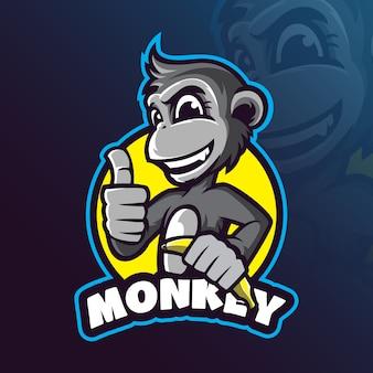 Vettore di progettazione di logo della mascotte della scimmia con l'illustrazione moderna