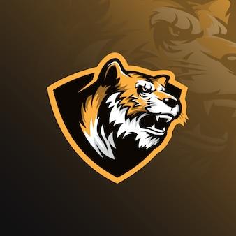 Vettore di progettazione di logo della mascotte della tigre con l'illustrazione moderna