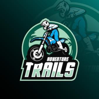 Vettore di progettazione di logo della mascotte di motocross con l'illustrazione moderna