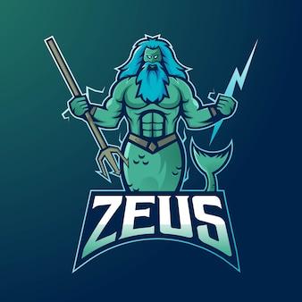Vettore di progettazione di logo della mascotte di zeus con stile moderno di concetto dell'illustrazione per il distintivo