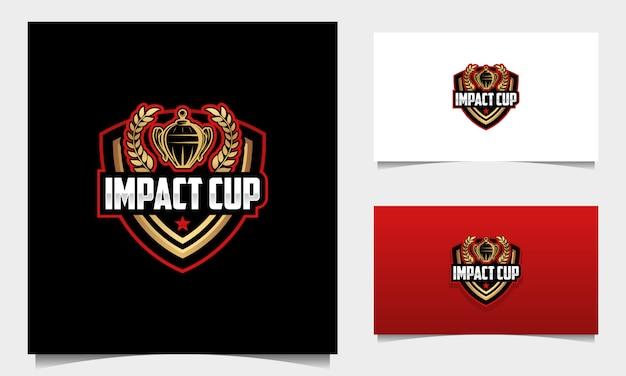 Vettore di progettazione di logo della tazza di torneo della mascotte dello scudo