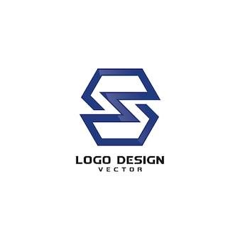 Vettore di progettazione di logo di linea della lettera di s.