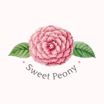 Vettore di progettazione di logo di peonia dolce