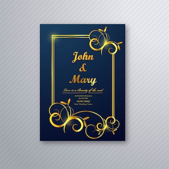 Vettore di progettazione di lusso del modello di volantino della carta di nozze