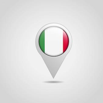 Vettore di progettazione di navigazione della mappa della bandiera dell'Italia