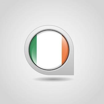 Vettore di progettazione di navigazione della mappa della bandiera dell'irlanda
