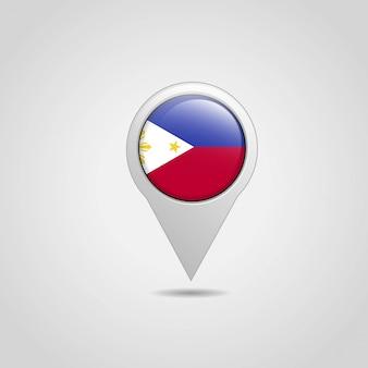 Vettore di progettazione di navigazione della mappa della bandiera delle filippine