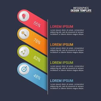 Vettore di progettazione infografica per la visualizzazione dei dati aziendali