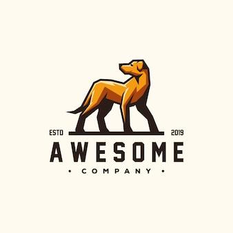 Vettore di progettazione logo cane impressionante