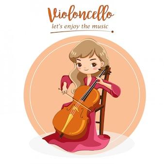 Vettore di ragazza carina suonare violoncello con passione per la musica