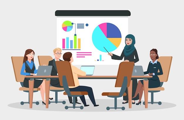 Vettore di riunione d'affari. donna di affari araba alla strategia di progetto infographic. seminario di gruppo, concetto di conferenza di presentazione