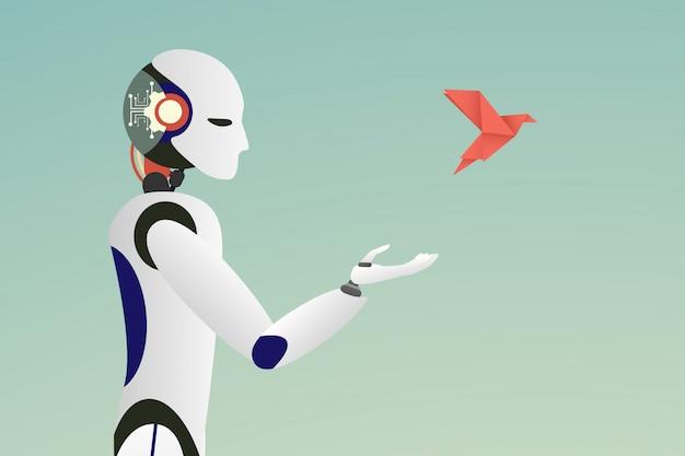 Vettore di robot rilasciando un uccello di carta rossa