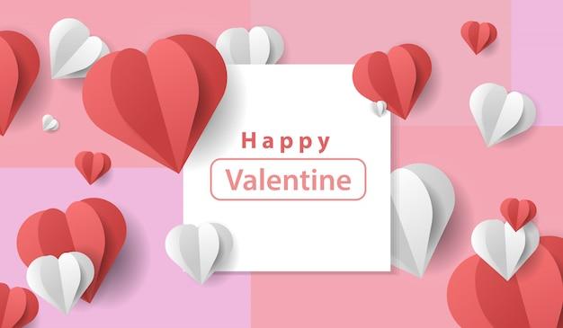Vettore di san valentino con stile papercut