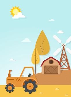 Vettore di scena del paesaggio dell'azienda agricola