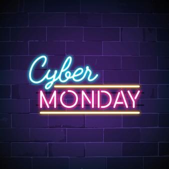 Vettore di segno al neon cyber lunedì