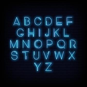 Vettore di segno al neon di alfabeto