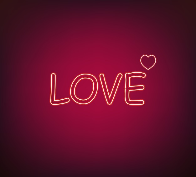 Vettore di segno di amore al neon
