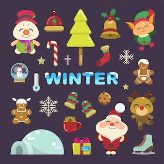 Vettore di set di articoli invernali. simpatico cartone animato per l'evento di natale.