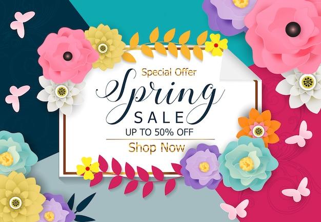 Vettore di sfondo banner di vendita di primavera