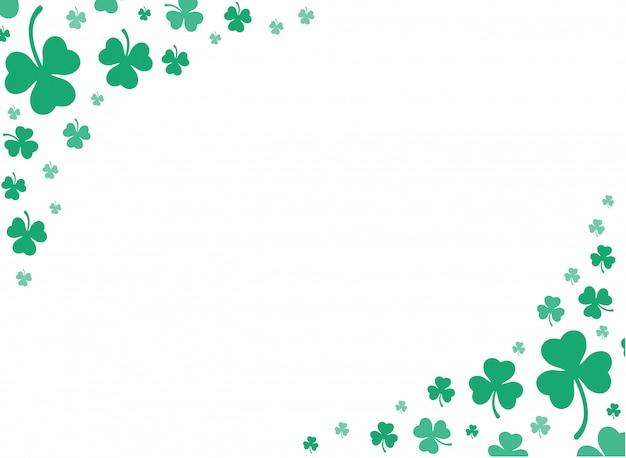 Vettore di sfondo verde carino foglia di trifoglio