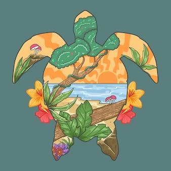 Vettore di stagione primavera estate paradiso spiaggia di tartaruga