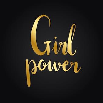 Vettore di stile di tipografia di potenza della ragazza