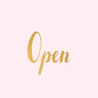 Vettore di stile di tipografia segno aperto