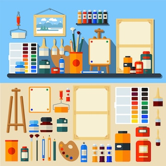 Vettore di stile piano di creatività e di pittura degli strumenti di art studio