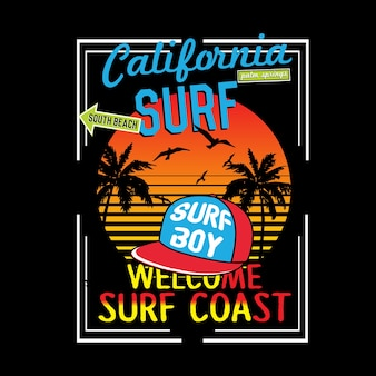 Vettore di t-shirt tipografia california