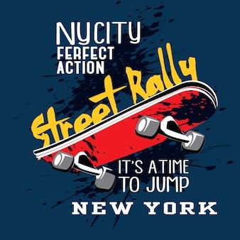 Vettore di t-shirt tipografia di skateboard