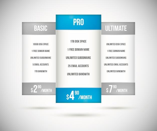 Vettore di tabelle di prezzi di piano di hosting del sito web