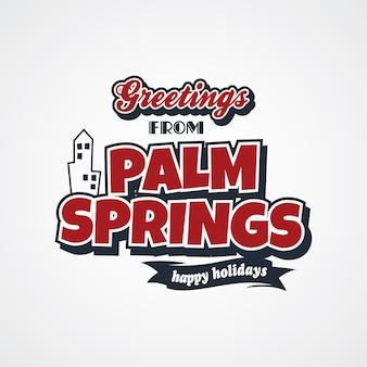 Vettore di tema di saluti di vacanza di palm springs