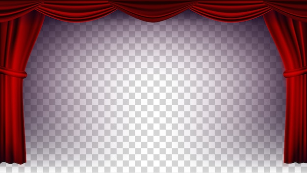 Vettore di tenda teatro rosso. sfondo trasparente per concerto, teatro, opera o cinema palco di seta vuoto, scena rossa. illustrazione realistica