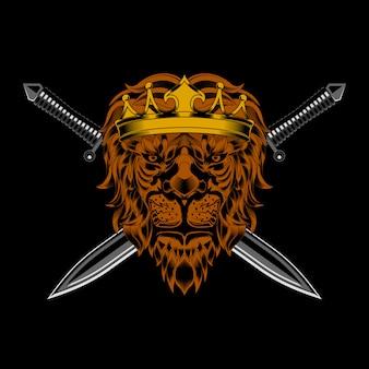 Vettore di testa e spada di re leone