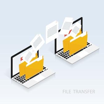Vettore di trasferimento di file di computer isometrica