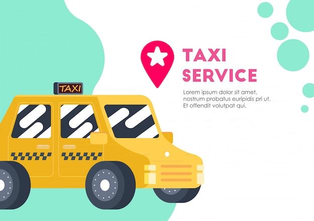 Vettore di trasporto di servizio auto taxi giallo