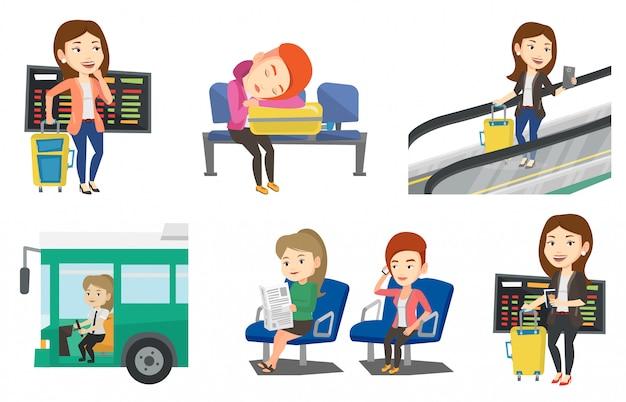 Vettore di trasporto impostato con persone che viaggiano.