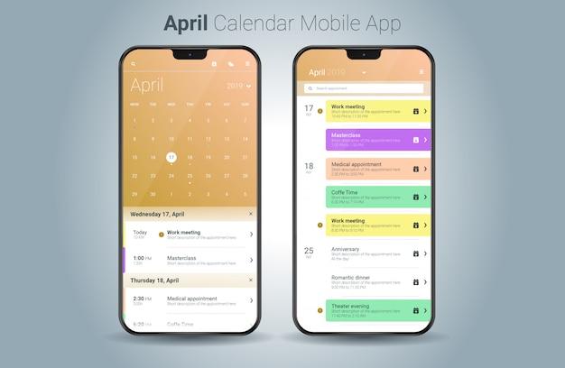 Vettore di ui della luce di applicazione mobile del calendario di aprile