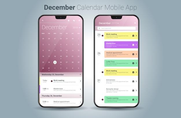 Vettore di ui della luce di applicazione mobile del calendario di dicembre