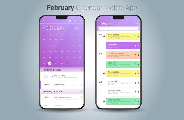 Vettore di ui della luce di applicazione mobile del calendario di febbraio