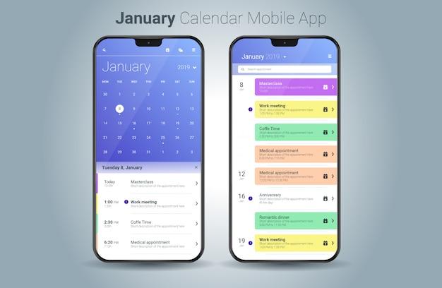Vettore di ui della luce di applicazione mobile del calendario di gennaio