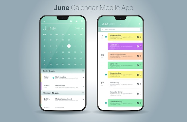 Vettore di ui della luce di applicazione mobile del calendario di giugno