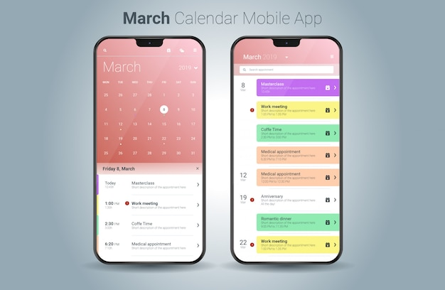 Vettore di ui della luce di applicazione mobile del calendario di marzo