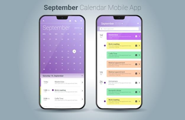 Vettore di ui della luce di applicazione mobile del calendario di settembre