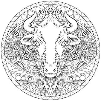 Vettore di un disegno di testa di bufalo. animali selvaggi