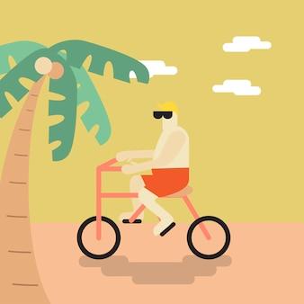 Vettore di un uomo in bicicletta sulla spiaggia
